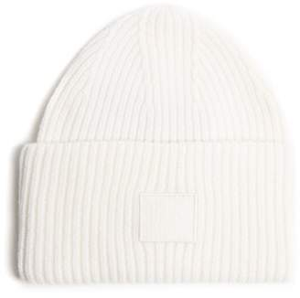 Acne Studios Pansy S Face Ribbed Knit Beanie Hat - Mens - White