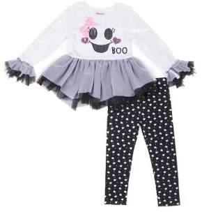 Little Lass Little Girl's Two-Piece Ghost Handkerchief Peplum Top & Leggings Set