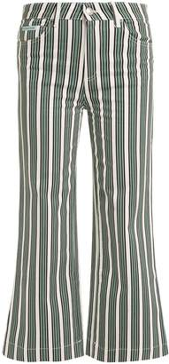 ALEXACHUNG Striped high-rise jeans