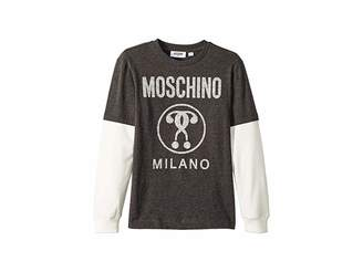 Moschino Kids Logo Graphic T-Shirt w/ Contrast Sleeves (Big Kids)