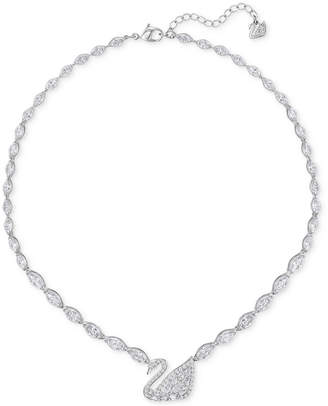 Swarovski Silver-Tone Pave Crystal Swan Collar Necklace