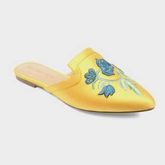 Who What Wear Women's Serafina Embroidered Satin Flat Mules