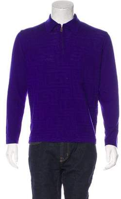 Versace V2 Wool Greca Jacquard Polo Sweater