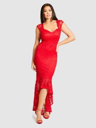 cf5d8475d8 Jessica Wright Lace Fishtail Maxi Dress - Red