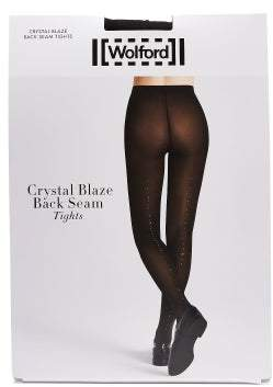 Wolford Crystal Affair Back Seam Tights - Womens - Black