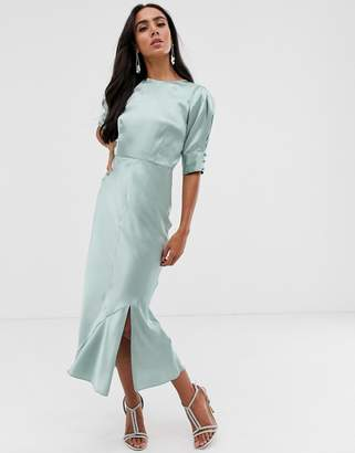 Asos Design DESIGN bias midi dress with puff sleeves in satin