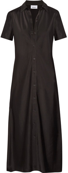 DKNY - Satin Shirt Dress - Black