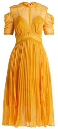Self-Portrait Self Portrait Ruffle Trimmed Pleated Dress - Womens - Yellow