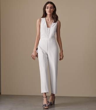 at Reiss Reiss Mea Jumpsuit - Wide-leg Jumpsuit in Off White
