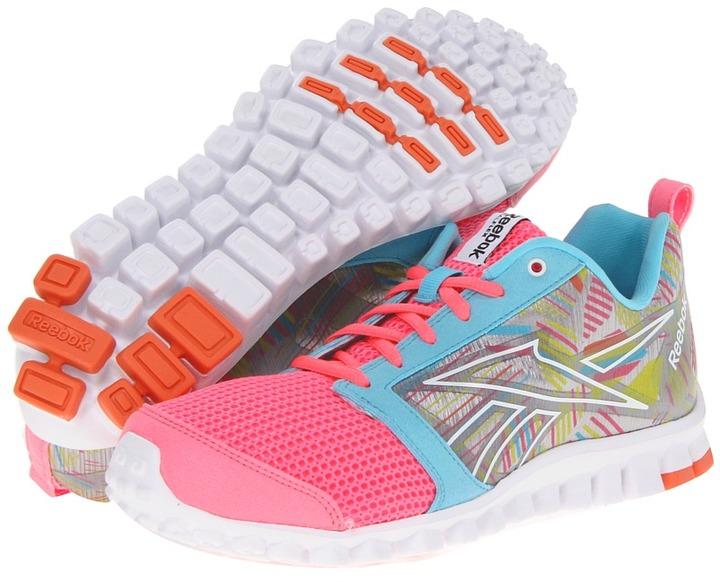 Reebok RealFlex Scream 2.0 (Pink Zing/Watery Blue/Tin Grey/Shocking Sherbet/Solar Green/Whit) - Footwear