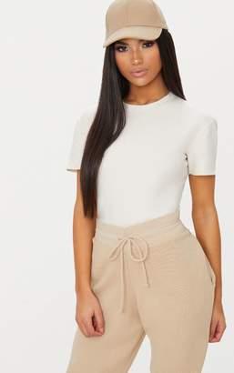 PrettyLittleThing Black Cotton Stretch T Shirt Thong Bodysuit