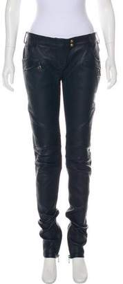 Balmain Leather Mid-Rise Pants w/ Tags
