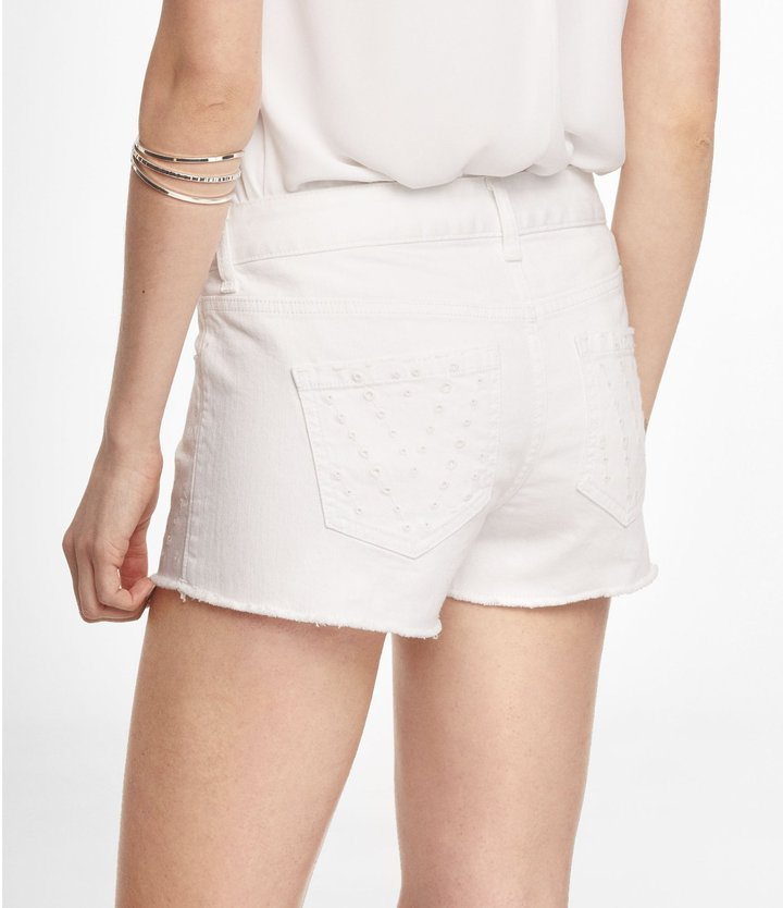 Express 2 Inch Eyelet Cutoff Denim Shorts