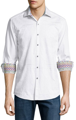 Robert Graham Kris Kringle Textured Cotton Sport Shirt, White $230 thestylecure.com