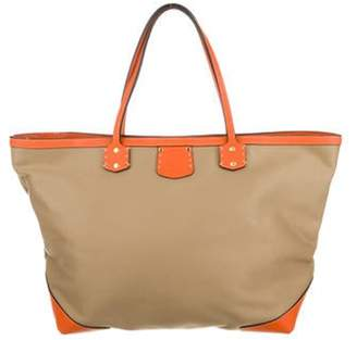 Ghurka Leather-Trimmed Canvas Tote Bag Beige Leather-Trimmed Canvas Tote Bag