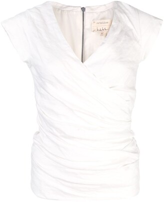 Nicole Miller ruched V-neck blouse