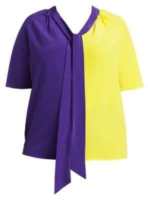 Fausto Puglisi Marina Rinaldi, Plus Size x Marina Rinaldi Betty Silk Colorblock Blouse
