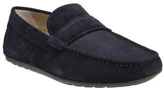 HUGO New Mens Blue Dandy Mocc Suede Shoes Driving Slip On