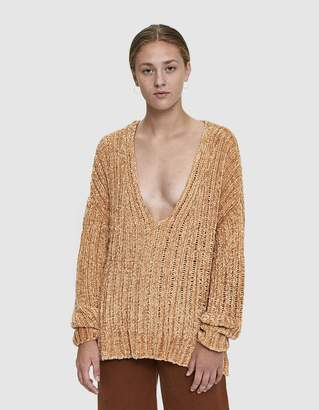 Stelen Luann V-Neck Chenille Knit Sweater in Camel