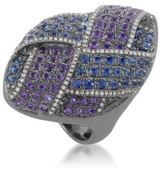 French Collection 18K White Gold Amethyst & Sapphire Pave Ring