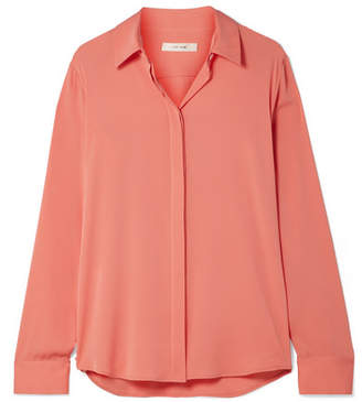 The Row Petah Silk-blend Crepe De Chine Shirt - Coral