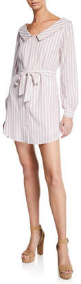Cupcakes And Cashmere Daylily Striped Button-Front Long-Sleeve Shirtdress w/ Belt