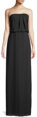 Halston Strapless Flowy Drape-Back Gown