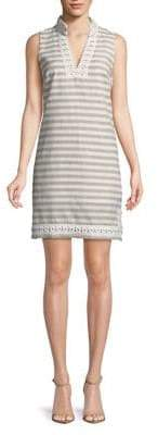 Eliza J Embroidered Striped Dress