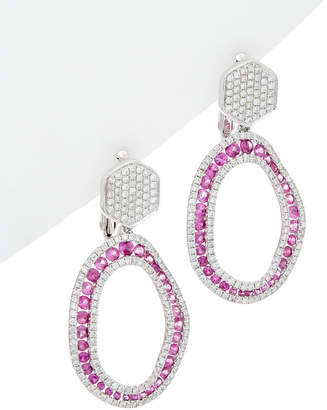 Diana M Fine Jewelry 18K 3.85 Ct. Tw. Diamond & Pink Sapphire Earrings