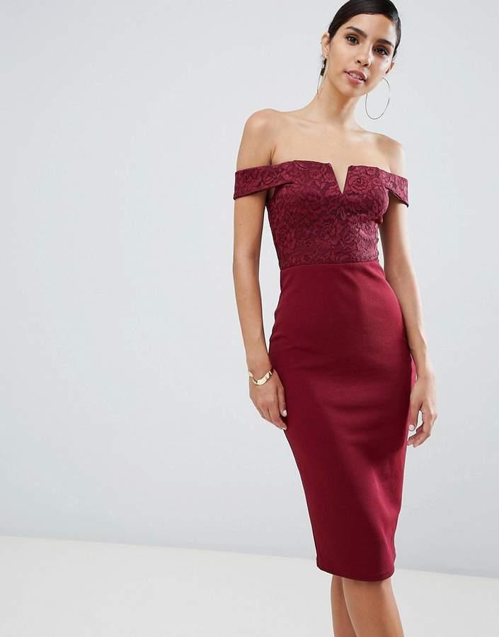 printed bardot midi dress