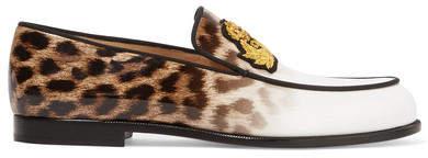 Christian Louboutin Christian Louboutin - Laperouza Appliquéd Leopard-print Patent-leather Loafers - Leopard print
