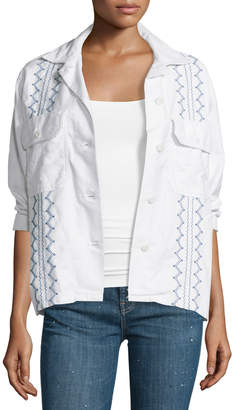 The Great The Embroidered Army Shirt Jacket, White