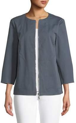 Lafayette 148 New York Levine Italian Gabardine Zip-Front Jacket