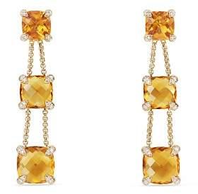 David Yurman Châtelaine Linear Chain Earrings with Citrine & Diamonds in 18K Gold