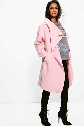 boohoo Maternity Belted Shawl Collar Coat