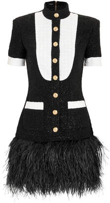 Balmain Feather Hem Mini Dress