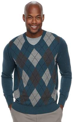 Croft & Barrow Men's Classic-Fit Argyle Fine-Gauge V-Neck Sweater