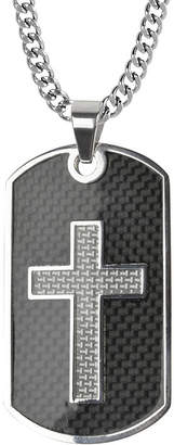 JCPenney FINE JEWELRY Inox Mens Black Stainless Steel Cross Dog Tag Pendant Necklace
