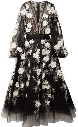 Marchesa Embellished Appliquéd Tulle Gown - Black