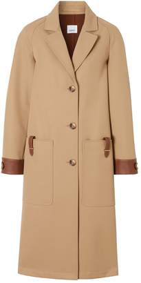 Burberry Leather-Trim Overcoat