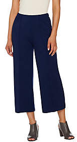Halston H by Ponte Knit Wide Leg Pull-OnCrop Pants