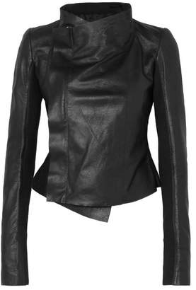 Rick Owens Wool-paneled Leather Biker Jacket - Black