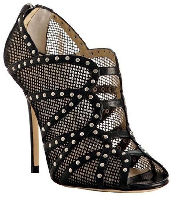 Jimmy Choo black studded fishnet 'Karina' booties