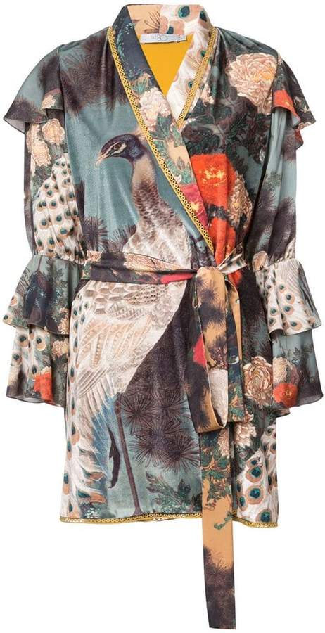 Patbo peacock print robe jacket