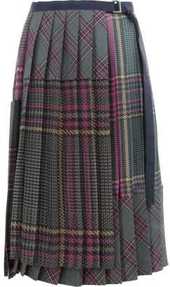 Sacai tartan pleated skirt