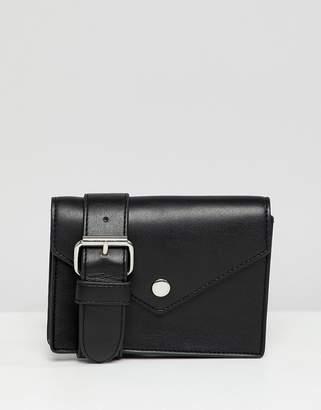 Monki faux leather envelope belt bag in black