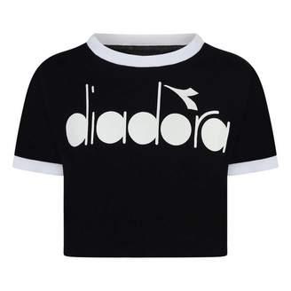 Diadora DiadoraGirls Black Wide Fit Logo Top