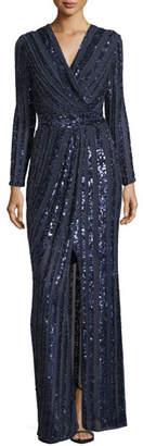 Parker Black Joyce Long-Sleeve Sequin & Bead Evening Gown