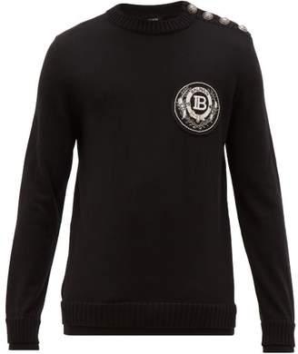 Balmain Beaded Crest Applique Wool Sweater - Mens - Black
