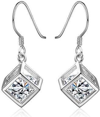 NA BEAUTY Fashion Classic Sterling Silver Teardrop Hook Square Magic Cube Dangle Earrings